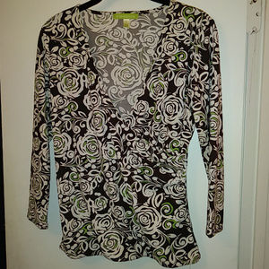 Sigrid Olsen Faux-Wrap Brown, White, Green Blouse